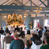 Many families worship at Mass in our chapel.